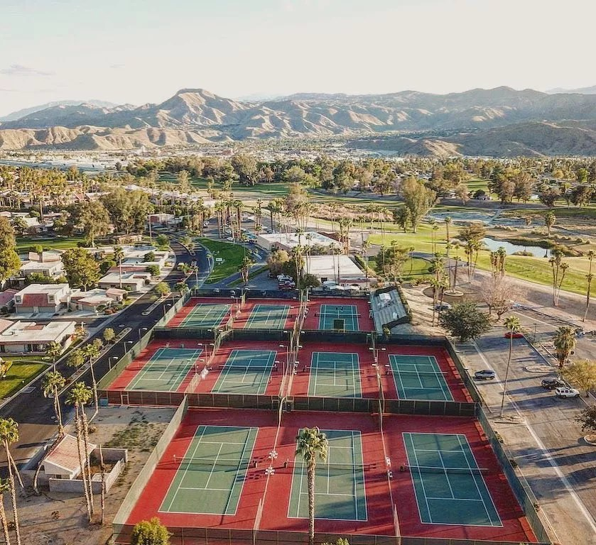 Drone Shot of Tennis Courts in Cathedral City, CA. Photo by Instagram user @kourts.app