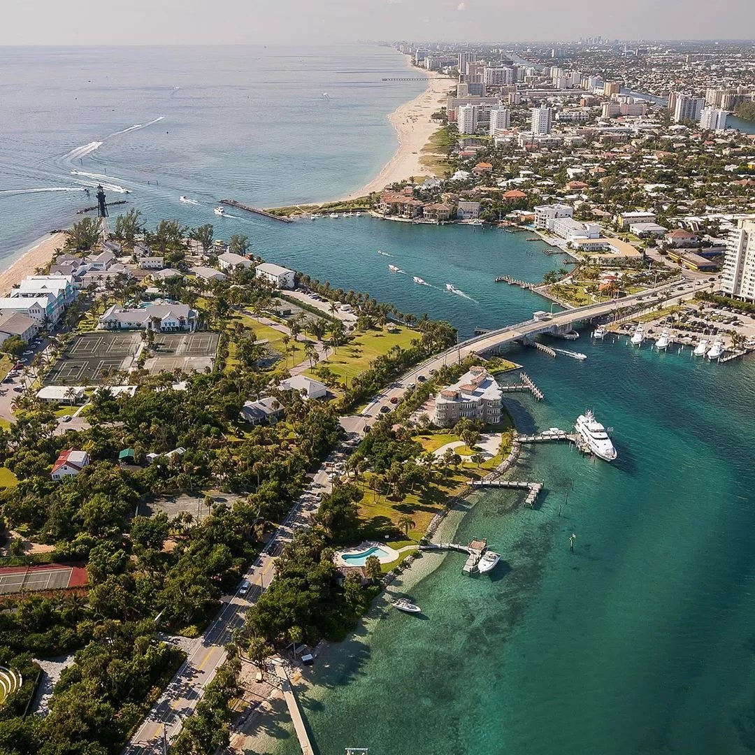 Aerial Photo of the Hillsboro Inlet in Pompano Beach. Photo by Instagram user @ryan.the.realtor