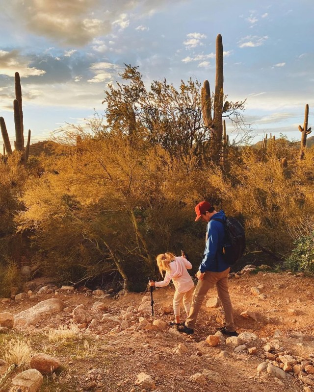 Man and Child Hiking in Usery Pass Mountain. Photo by Instagram user @anywherethatiswild