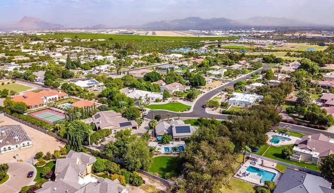 Drone Photo of a Residential Area in Mesa. Photo by Instagram user @nickgiles_realtor