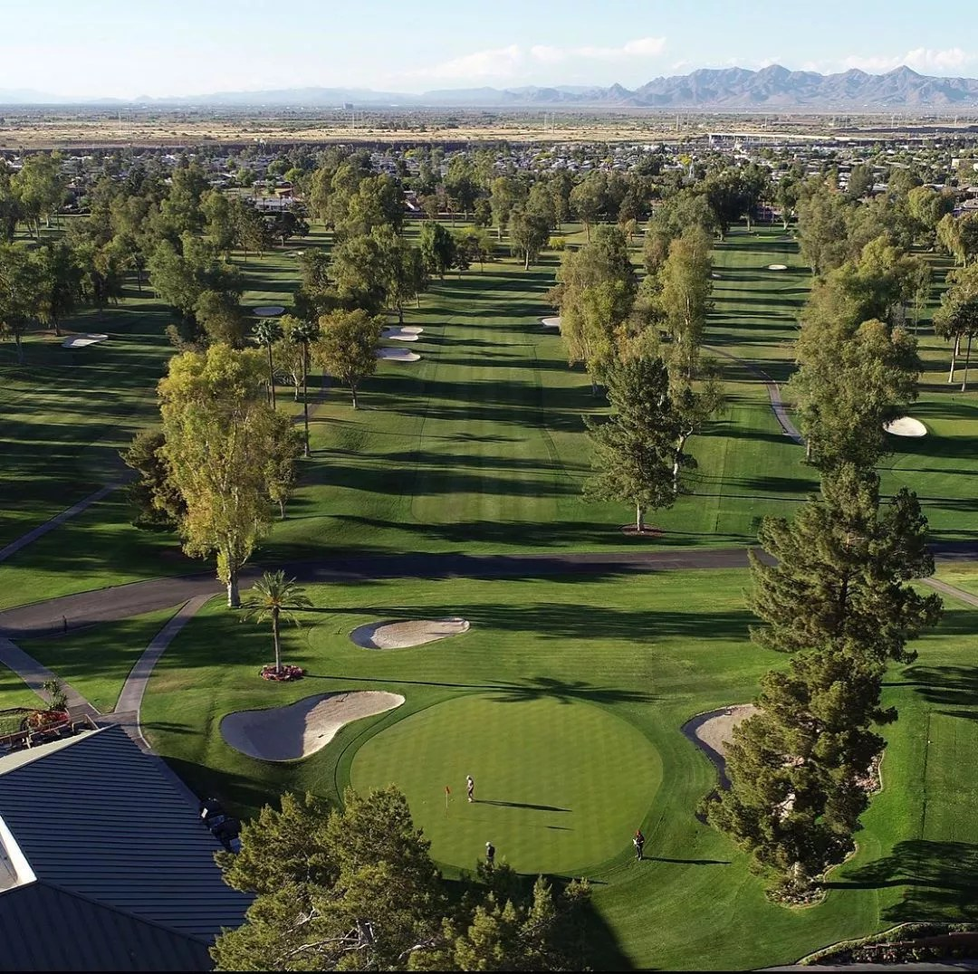 Drone Photo of the 18th Hole at Mesa Country Club. Photo by Instagram user @golfcreative