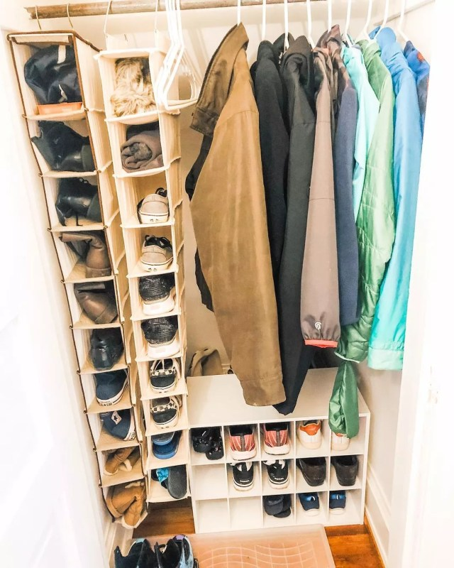 Two hanging shoe organizers in closet. Photo by Instagram User @cleanlinesorganizinganddesign