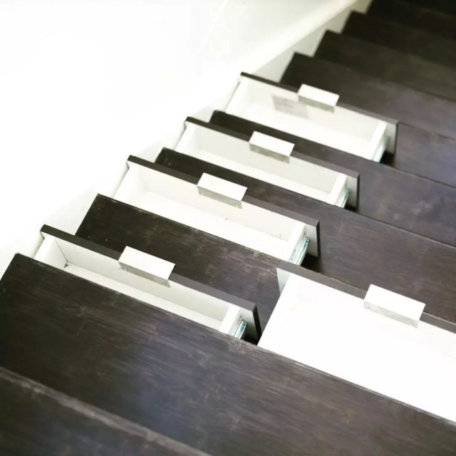 Stairs that have pull-out drawers. Photo by Instagram User @877rentpro