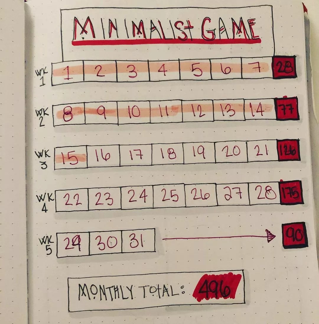 Calendar written on paper to use as a guide for the Minimalist Game. Photo by Instagram user @curvykcreations.