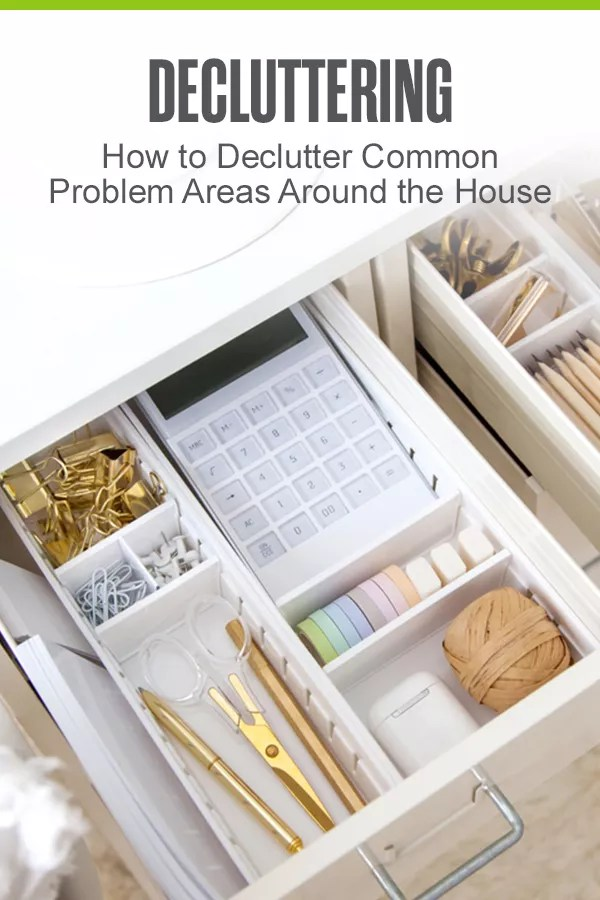 Pinterest Image: Decluttering: How to Declutter Common Problem Areas Around the House: Extra Space Storage