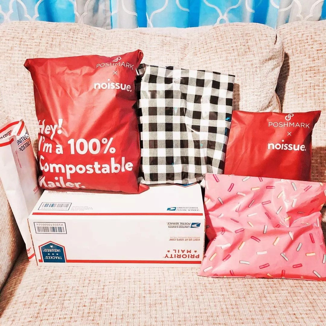 Packages being sent out from Poshmark seller. Photo by Instagram User @alexberkposh