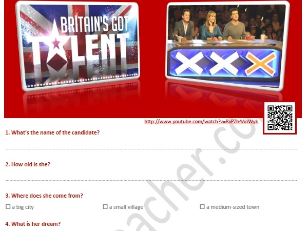 Susan Boyle's on BGT Worksheet