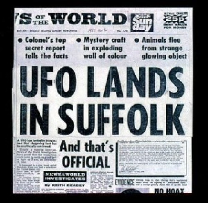 IL GIORNALE DELL'EPOCA SULL'UFO DI RENDLESHAM FOREST