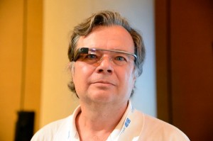 David Cardinal, sporting a lovely Google Glass. Photo by Sergey Brin