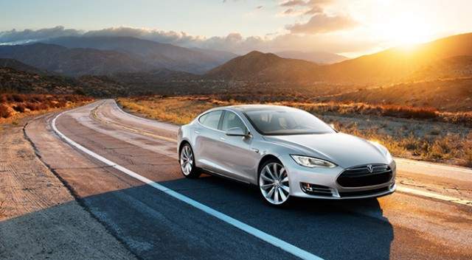 An aspirational shot of the Tesla Model S