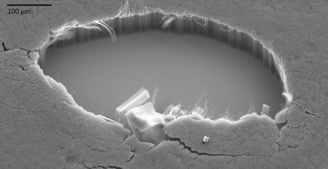 Carbon nanotubes on a flat silicon substrate. See how tightly packed they are.