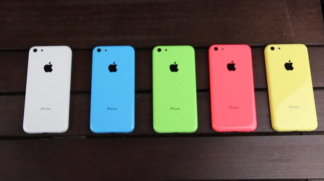 iPhone 5C, color variants (white, blue, green, red, yellow)