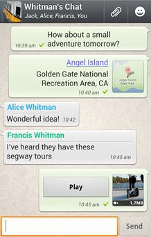 WhatsApp chat interface