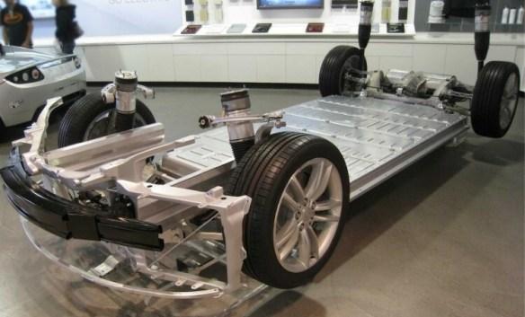 Tesla Model S, showing its battery pack