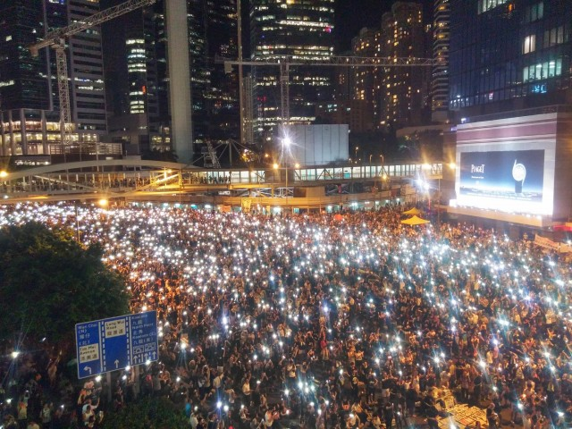 The Umbrella Revolution in Hong Kong, at night, with lights