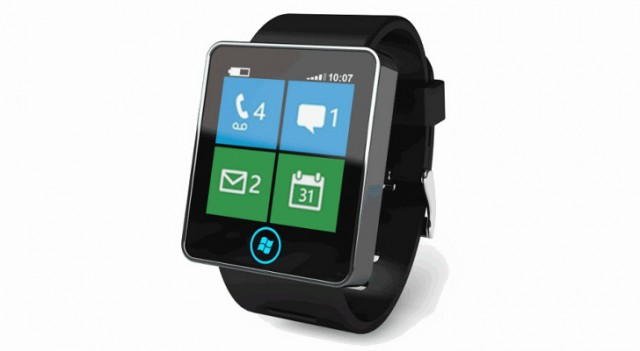 Microsoft smartwatch, showing Windows Phone style live tile interface