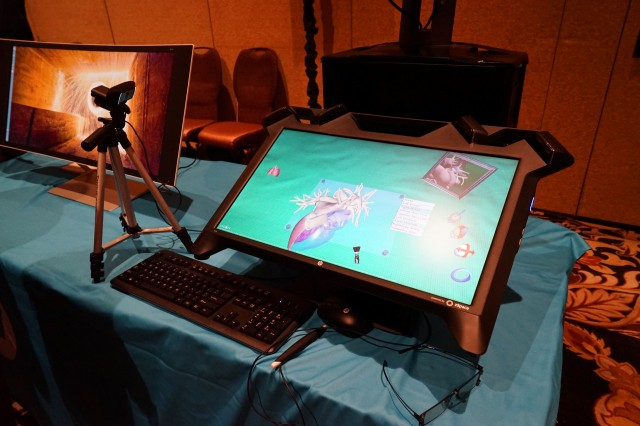 The Zvr display includes head-tracking cameras, a tethered gyroscopic stylus, and 3D glasses.