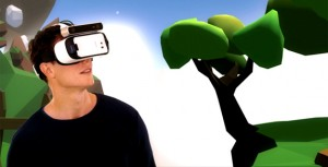 Looking at a virtual world with a Gear VR and ZED camera