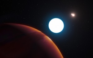 This artist's impression shows a view of the triple-star system HD 131399 from close to the giant planet orbiting in the system.The planet is known as HD 131399Ab and appears at the lower-left of the picture. Located about 320 light-years from Earth in the constellation of Centaurus (The Centaur), HD 131399Ab is about 16 million years old, making it also one of the youngest exoplanets discovered to date, and one of very few directly imaged planets. With a temperature of around 580 degrees Celsius and an estimated mass of four Jupiter masses, it is also one of the coldest and least massive directly-imaged exoplanets.