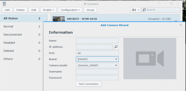 Synology's Surveillance Station client can scan your network for supported and ONVIF-compliant cameras automatically
