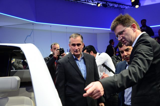 Intel CEO Krzanich with Mobileye's Amnon at CES 2017 showcasing BMW projects