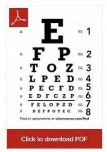 If you only need to test your distance vision, a home-printed eye chart can come in handy. Courtesy VisionSource.
