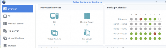 Synology's Active Backup for Business provides a large number of options managed via a central console