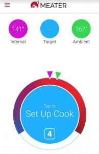 You can set up cooks in the MEATER mobile app or just use the device with its temperature dial