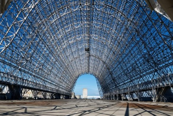 On the way home I stopped to get a shot of Moffett Field's Historic Hangar 1 airship hangar. It was falling apart, so the skins were ripped off and the frame has been repaired. Hopefully one day it will again house the Field's Historical Museum.