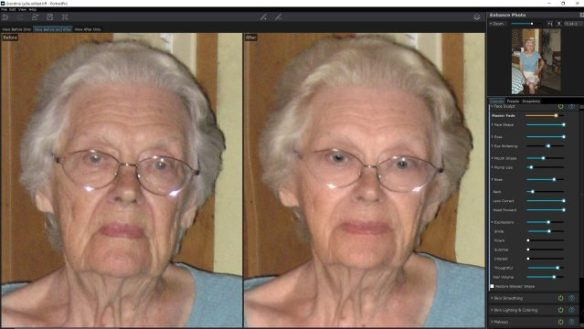 Before and after of an old portrait, done from the in-camera JPEG
