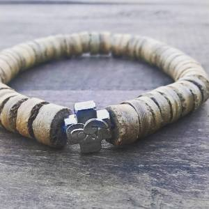 Handmade coconut wood prayer beads bracelet