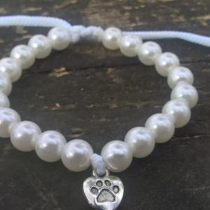 Handmade white dog paw beads bracelet