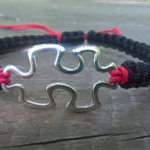 Handmade black-red puzzle friendship, macrame bracelet