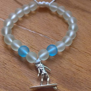Handmade surfer beaded bracelet