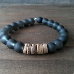 Handmade black glass bracelet with coconut beads