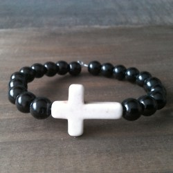 Handmade prayer beads bracelets with white stone cross