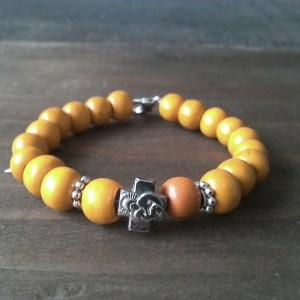 Handmade christian orange prayer beads bracelet