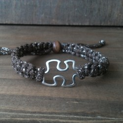 Handmade brown with silver ribbon puzzle friendship bracelet