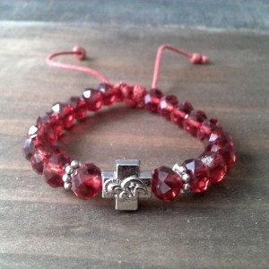 Handmade christian red glass prayer beads bracelet