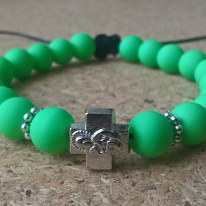 Handmade christian fluo green prayer beads bracelet