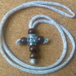Handmade necklace with brown wood cross pendant
