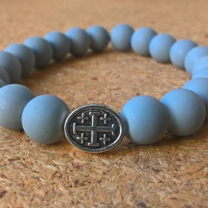 Handmade christian gray glass prayer beads bracelet