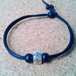 Handmade christian black leather bracelet