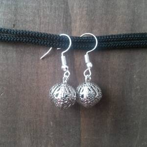 Handmade metal hollow bead earrings