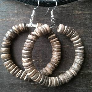 Handmade earrings, coconut wood beads