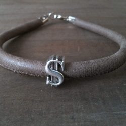 Handmade natural leather bracelet, dollar symbol bead