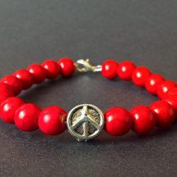 Handmade peace, hippie pendant bracelet