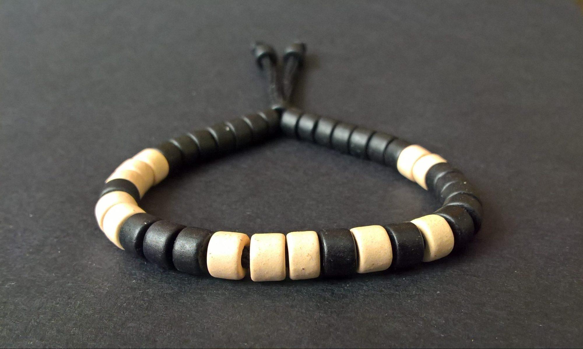 Greek (Mykonos) black-cream ceramic bracelet