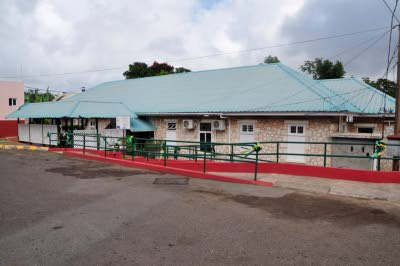 The ophthalmology clinic and operating theatre building on the grounds of the Mandeville Regional Hospital