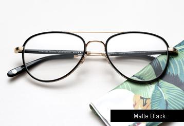 Garrett Leight Linnie eyeglasses - Matte Black / Gold